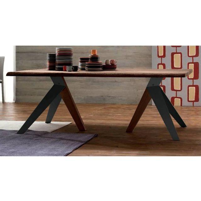 Inside 75 Trio Table repas en chêne teinté chocolat, piétement en bois