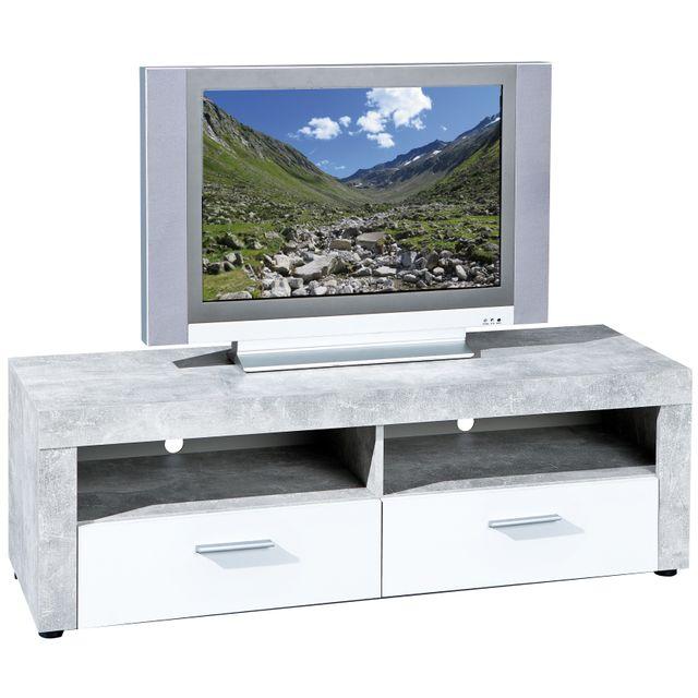 COMFORIUM - Meuble TV design 134 cm coloris béton et blanc avec 2 niches et  2 c5faa54e3359