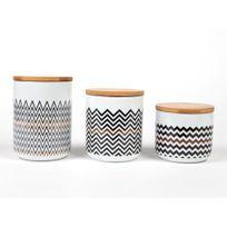 Kaligrafik - Pots hermétique en porcelaine motifs scandinave noir / cuivre - Coffret de 3 pièces Sisko