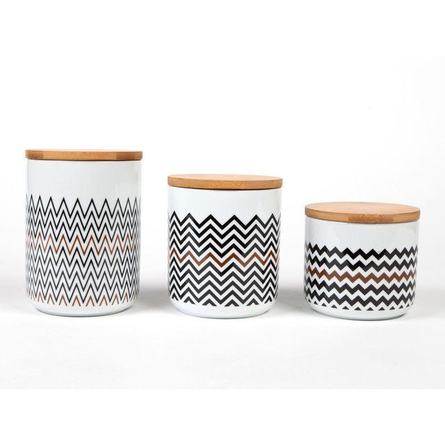 Kaligrafik Pots hermétique en porcelaine motifs scandinave noir / cuivre - Coffret de 3 pièces Sisko
