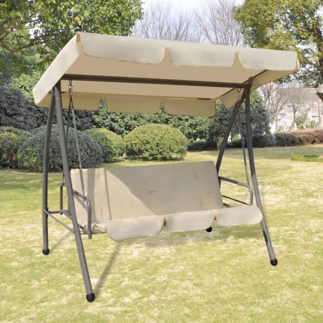 Vidaxl Chaise oscillante d'extérieur avec baldaquin Sable Blanc - 43237 | Blanc