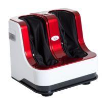 HOMCOM - Appareil de massage pieds masseur électrique pieds et mollets Shiatsu inclinable chauffage écran LCD 3 modes automatiques rouge blanc 72