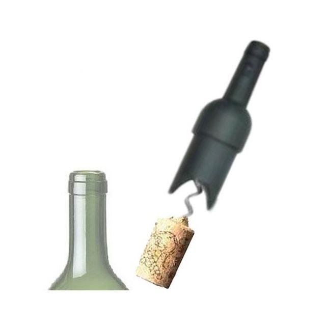Totalcadeau Tire-bouchon en forme de bouteille - Ouvre bouteille Vin Couleur - Noir