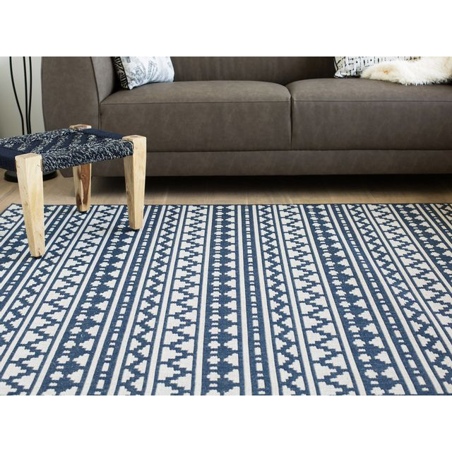 Akhal - Tapis 100% polypropylène tissé plat motif ethnique mosaique Imani - Bleu/ecru - 135x190cm Beige - 140