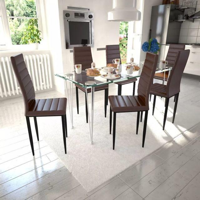 Chaise de salle à manger 6 pcs avec design fin Marron | Brun