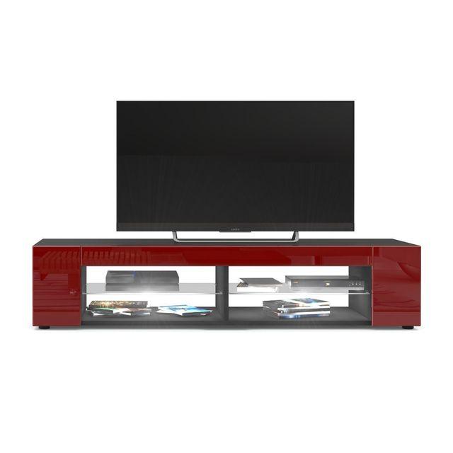 Mpc meuble tv noir mat fa ades en bordeaux laqu es led blanc pas cher achat vente meubles - Meuble tv noir mat ...