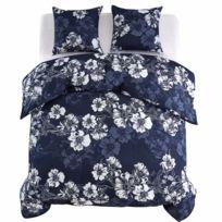 Chambre Lit Jeu De Housse De Couette 3pcs Fleur 240x220 60x70cm Bleu Marine