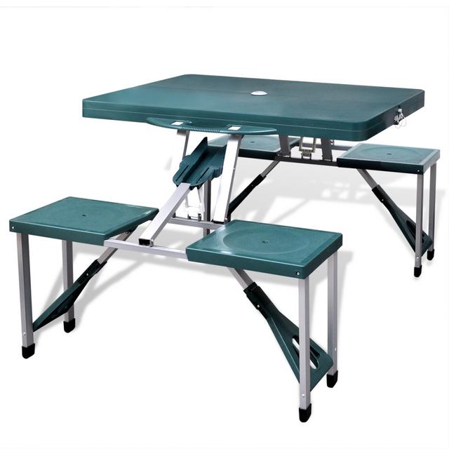 Rocambolesk Superbe Table de pique-nique verte pliante à 4 sièges légère en aluminium Neuf