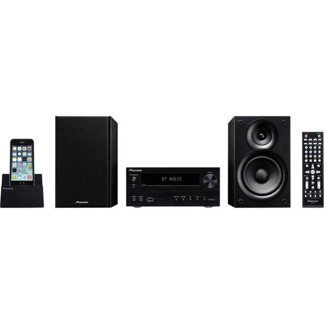Pioneer X Chaîne stéréo noir Caractéristiques techniquesCatégorie Chaîne stéréoFonctions (HiFi) Aux, Bluetooth, Cd, Dvd, UsbInterfaces (entrée) audio, stéréo (jack 3.5 mm), entrée Rca, UsbInterfaces (sortie) Hdmi™, casque (jack 3,5 mm), Usb port de charge