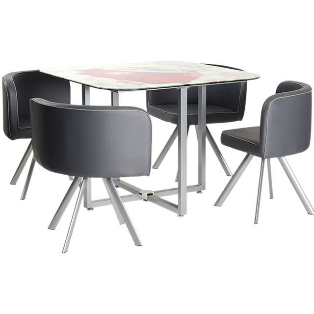 Altobuy Soda - Ensemble Table + 4 Chaises Grises