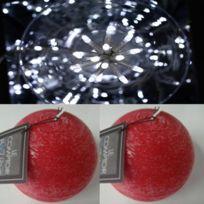 Feerie Lights - Guirlande d'extérieur blanc et bougies boules rouges