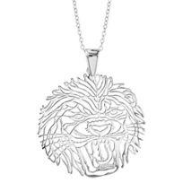 1001BIJOUX - Collier argent rhodié gros pendentif tête de lion 40+10cm