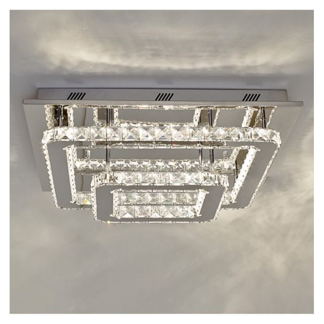 Kosilum - Lustre Plafonnier Led cristal 2 carrés design - Wade - En ...