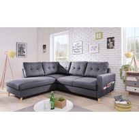 acheter en ligne 8d6c8 25268 Canapé SCANDI Stockholm- 6 places - Fixe - Angle Gauche - Gris Foncé -  198cm x 97cm x 230cm