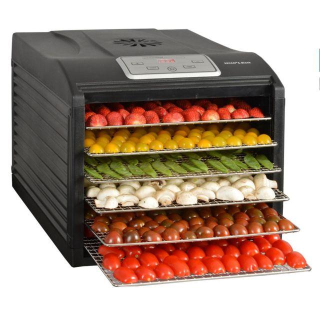 kitchen chef d shydrateur fruits et l gumes 6 plateaux 500w secco 6 black pas cher achat. Black Bedroom Furniture Sets. Home Design Ideas