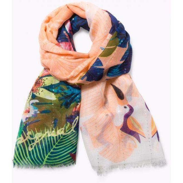 d0ab01c18c44 Desigual Maroquinerie - Foulard Rectangle Tropical Fly - pas cher Achat    Vente Echarpes, foulards - RueDuCommerce