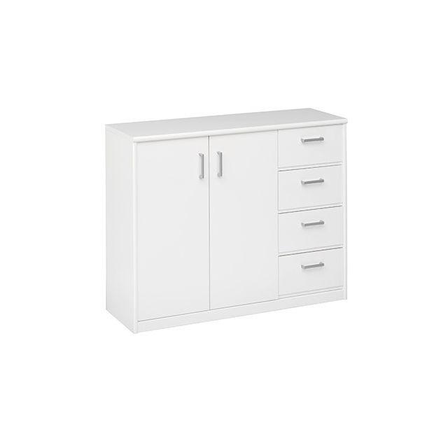 Commode 2 portes 4 tiroirs 106x84x36 en blanc
