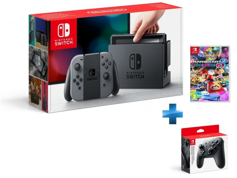 Console Switch avec une paire de Joy-Con Gris + Mario Kart 8 Deluxe + Manette Switch Pro