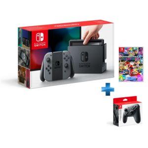 NINTENDO - Console Switch avec une paire de Joy-Con Gris + Mario Kart 8 Deluxe + Manette Switch Pro