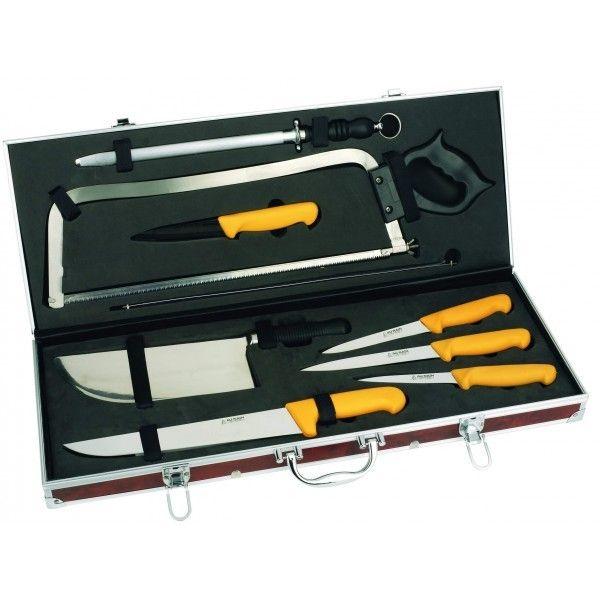Aunain Malette boucherie 8 couteaux et accessoires Au Nain jaune