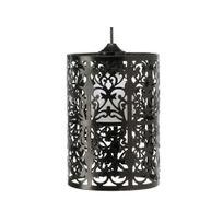 Mathias - Suspension cylindre en métal perforé laqué noir hauteur 25cm diamètre 19cm Tanger