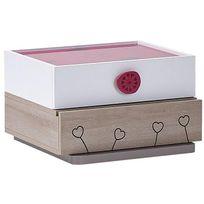 Comforium - Table de chevet pour fille 55 cm avec 2 tiroirs coloris blanc, rose et bois naturel