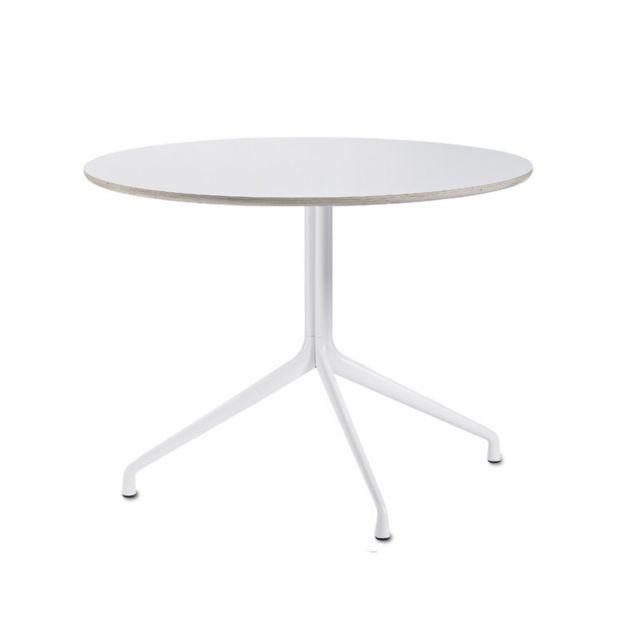Hay About A Table Aat20 Trois pieds - Ø 80 cm - stratifié blanc, bordure contreplaqué