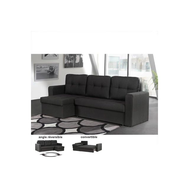 Canapé d'angle réversible convertible noir Chilton
