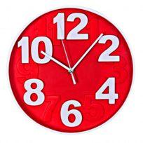 Horloge murale design chiffres en relief Ø 30 cm - Rouge