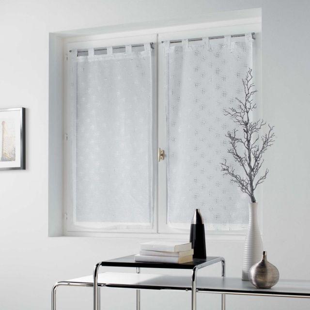 paris prix paire de voilages damina 60x160cm blanc pas cher achat vente rideaux. Black Bedroom Furniture Sets. Home Design Ideas