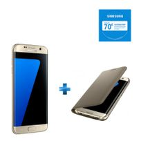 Samsung - Galaxy S7 Edge Or + Etui à rabat pour Galaxy S7 Edge - Or EF-WG935PFEGWW