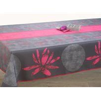 Le Linge De Jules - Nappe anti-taches Lotus fuchsia - taille : Rectangle 150x240 cm