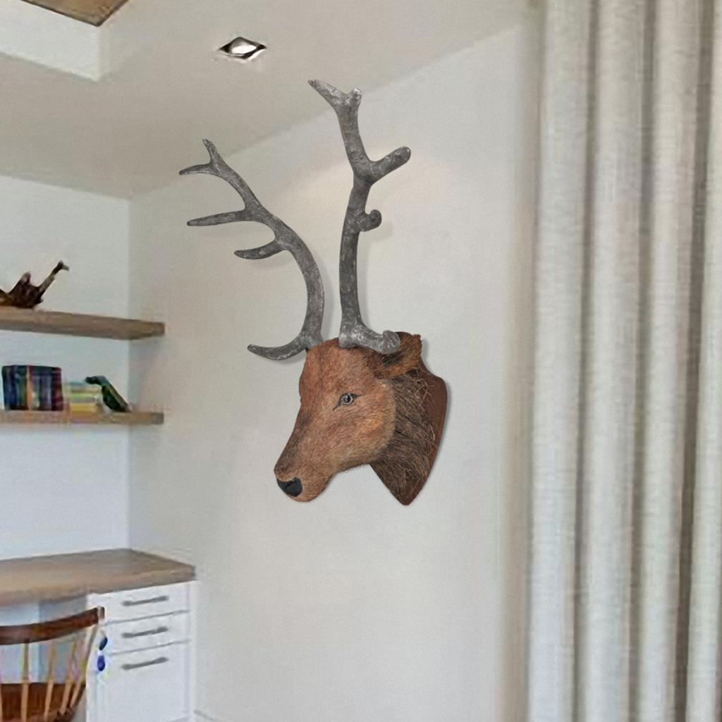 Rocambolesk Superbe Tête de cerf Accroche Murale Déco Naturelle Neuf