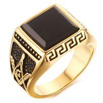 Bijoux&M - Bague chevaliere acier plaque or onyx noir motif grecque