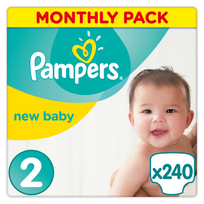 PAMPERS - Premium Protection New Baby - Couches Taille 2 Mini, 3-6 kg - 240 couches
