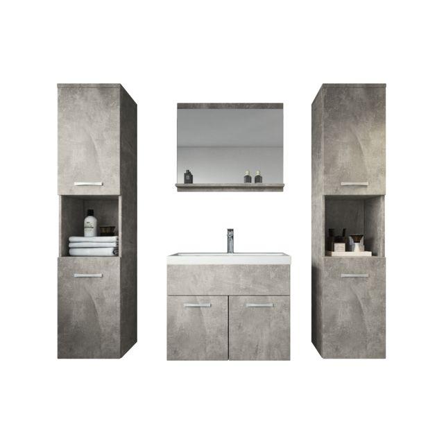 Meuble de salle de bain Montreal xl 60 cm lavabo Beton - Armoire de  rangement Meuble lavabo evier Meubles