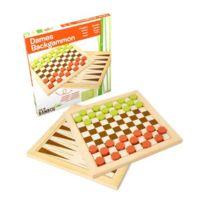 Jeujura - Jeu de Société - Dames - Backgammon - Plateau Réversible - Bambou - 30 cm