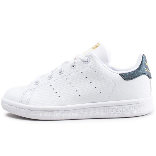 d13643a4cf7 Adidas originals - Stan Smith Enfant Blanche Et Verte Brillant - pas ...
