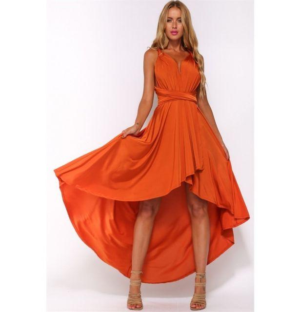 Robe longue orange pas cher