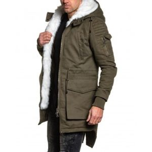 project x manteau parka homme hiver kaki a fourrure blanche et capuche pas cher achat. Black Bedroom Furniture Sets. Home Design Ideas
