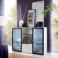 Asm-mdlt - Buffet Quadro blanc et noir de haute brillance et en verre avec Led
