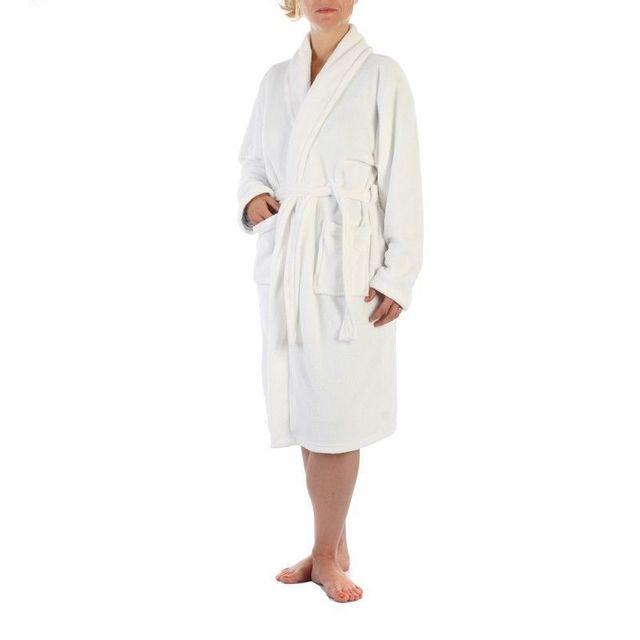 11f8ff6fe602a Instant D'O - Peignoir microfibre blanc pour femme - pas cher Achat ...
