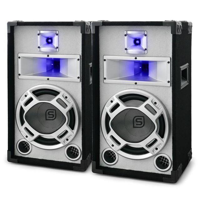 SKYTEC Pack enceintes sono PA passives 25cm 2x400W blanches