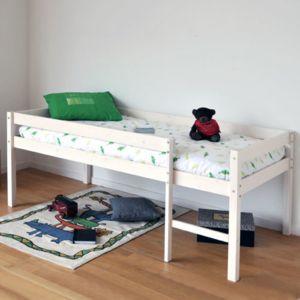 no name lit mi hauteur miki 90x190 1 sommier blanchi 90cm x 190cm pas cher achat vente. Black Bedroom Furniture Sets. Home Design Ideas