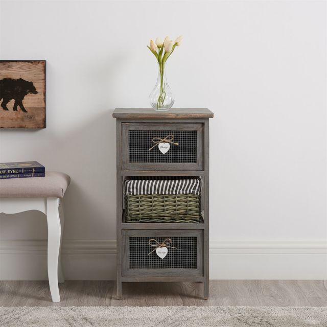 IDIMEX Commode Maurice Rangement 2 tiroirs et 1 Panier /étag/ère en Bois de Paulownia Style Shabby Chic Vintage Rustique Romantique Gris