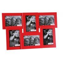 Declikdeco - Cadre 6 Photos Rouge Byblos 47,8 x 30,7 cm
