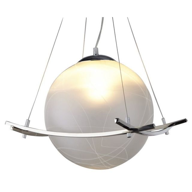 Comforium Suspension design globe en verre opale coloris blanc