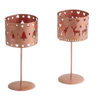 AUBRY GASPARD - Photophore de Noël sur pied en métal cuivré Lot de 2
