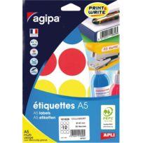 Agipa - 101829 - pastille adhésif diamètre 45 mm - couleurs assorties - etui de 84