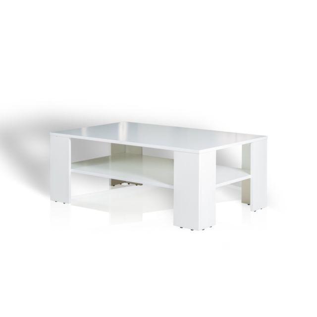 TOPDECO - Table basse Lino Blanc - 103cm x 39cm x 63cm